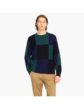 J.Crew Always 1994 Lambswool Crewneck Sweater In Black Watch Plaid by J.Crew