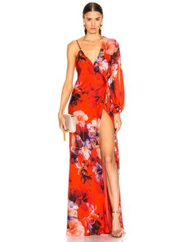 Asymmetrical Wrap Gown by Michelle Mason