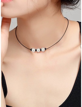 Faux Pearl Pendant Necklace by Romwe