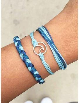 Circle Detail Woven Bracelet 3pcs by Romwe