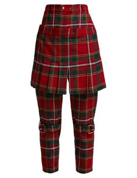 Tartan Wool Blend Kilt Trousers by Burberry