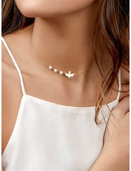 Faux Pearl & Bird Detail Chain Necklace by Romwe