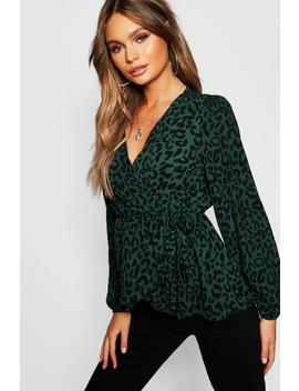 Leopard Print Wrap Top by Boohoo