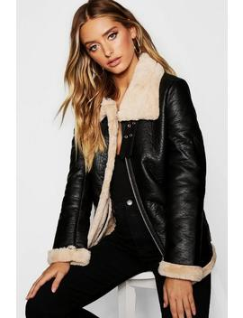 Contrast Faux Fur Lined Aviator by Boohoo