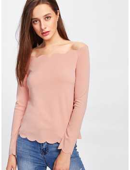 Off Shoulder Scallop Trim Top by Romwe
