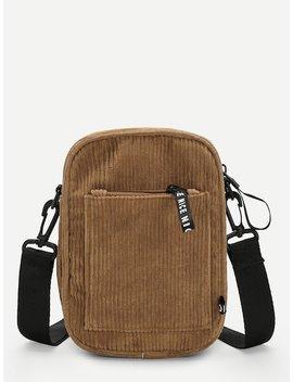 Pocket Detail Corduroy Crossbody Bag by Sheinside