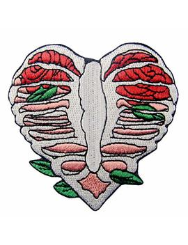 Anatomy Heart Shape Skeleton With Leaves Applique Embroidered Badge Iron On Sew On Patch by Amazon