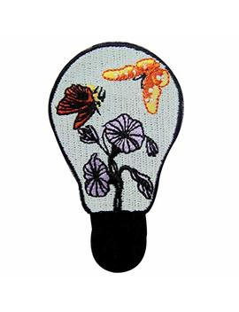 Butterfly And Flower In The Lamp Patch Embroidered Badge Iron On Sew On Emblem by Amazon