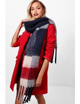 Brushed Chunky Check Scarf by Boohoo