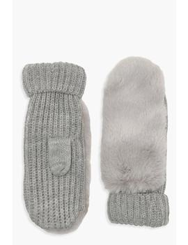 Grey Faux Fur Knitted Mittens by Boohoo