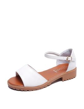 Peep Toe Single Band Pu Sandals by Romwe