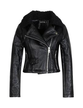 Borg Collar Biker Jacket by Boohoo