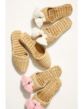 Straw Tassel Slippers by Free People