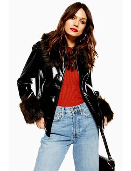 Vinyl Faux Fur Trim Coat by Topshop