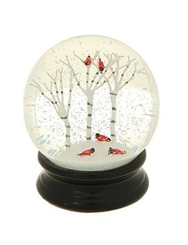 Winter Snow Globe By Raz Imports:  4.5 Inch Cardinal Snow Globe (Birch Trees) by Raz Imports
