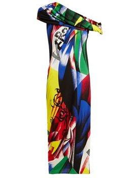 Paint Print Off The Shoulder Dress by Versace