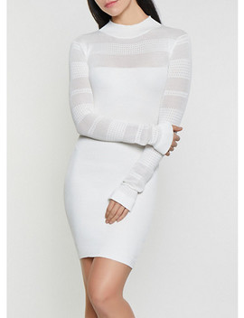 Pointelle Rib Knit Sweater Dress by Rainbow