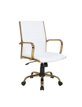 Master Gold With White Faux Leather Adjustable Office Chair by Lumisource