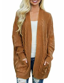 Doballa Women's Chunky Boyfriend Open Front Long Sleeve Cable Knit Aran Twisted Cardigan Sweaters Coat With Pockets by Doballa