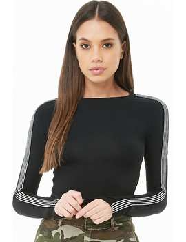 Glitter Striped Trim Crop Top by Forever 21
