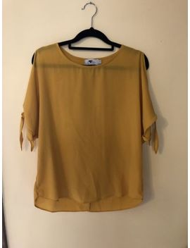 Temt Mustard Top Blouse Slit Sleeves Size 8 by Temt