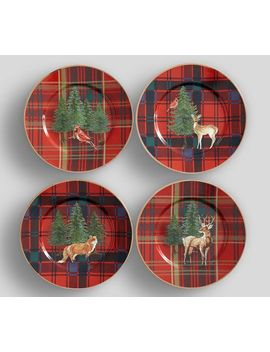 Aspen Plaid Salad Plate, Set Of 4 by Pottery Barn