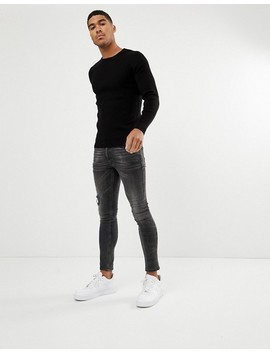 Asos Design Muscle Fit Ribbed Sweater In Black by Asos Design