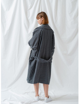 Square Check Trench Navy by Salad Bowls