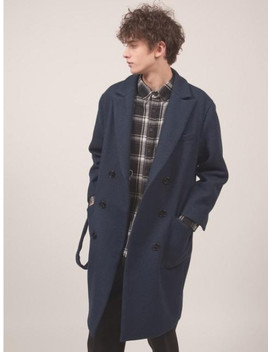 'hug Me' Oversized Double Coat Navy by Snack Culture