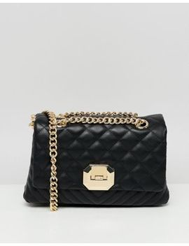 Aldo Menifee Black Quilted Cross Body Bag With Double Gold Chunky Chain Strap by Aldo