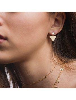 Triangle Ear Jacket, Modern Earrings, Geometry Earrings, Dainty Ear Jacket, Fashion Earrings, Gold Earrings, Dainty Earrings, Ear Jacket by Etsy