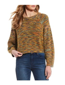 Melange Fuzzy Cropped Eyelash Sweater by C&V Chelsea & Violet