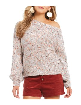 One Shoulder Bubble Sleeve Confetti Sweater by Gb