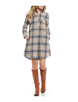 Dakota Plaid 3/4 Rolled Sleeve Shirtdress by Lauren James