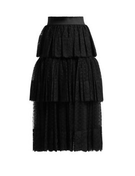 Tiered Tulle And Lace Midi Skirt by Dolce & Gabbana