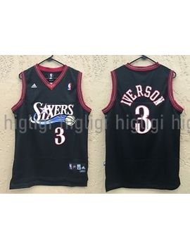 Nwt Allen Iverson #3 Nba Philadelphia 76ers Swingman Throwback Jersey Man, Black by Adidas