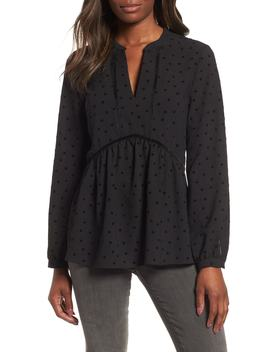 X Glam Squad Woven Flocked Dot Peplum Blouse by Gibson