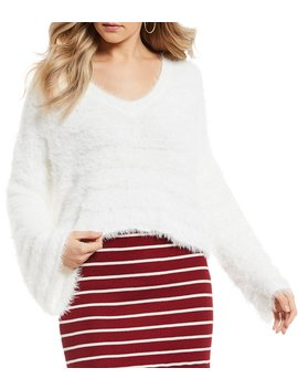V Neck Long Sleeve Eyelash Sweater by Gb