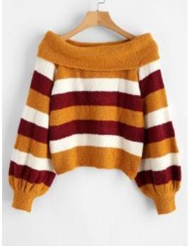 Zaful Fluffy Off The Shoulder Striped Sweater   Multi S by Zaful