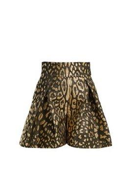 High Rise Leopard Lamé Shorts by Dolce & Gabbana