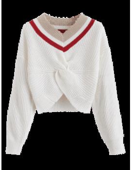 Stripes V Neck Twist Sweater   White by Zaful