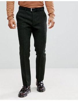 Pantalones De Traje De Corte Slim De 100 Percents Lana Y Tweed Verde Harris Con Diseño De Espiga De Asos by Asos