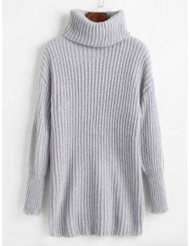Relaxed Drop Shoulder Turtleneck Sweater   Light Gray by Zaful