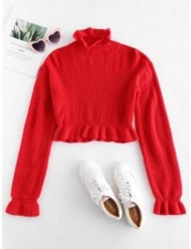 Solid Color Ruffles Crop Sweater   Red M by Zaful