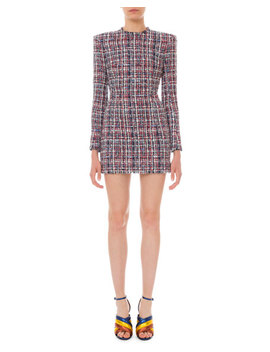 Long Sleeve Tweed Mini Dress by Balmain