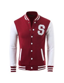 Unique Bargains Men's Long Sleeves Letter Pattern Button Front Varsity Jacket by Unique Bargains