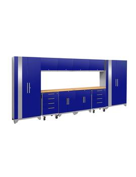 Performance 2.0 156 In. W X 75.25 In. H X 18 In. D 24 Gauge Welded Steel Bamboo Worktop Cabinet Set In Blue (12 Piece) by New Age Products