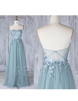 Bridesmaid Dress Dusty Blue Tulle Wedding Dress With Lace Applique,Sweetheart Strapless Maxi Dress,Illusion Lace Low Back Prom Dress(Ls339) by Etsy