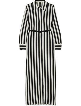 Belted Striped Stretch Jersey Maxi Dress by Norma Kamali
