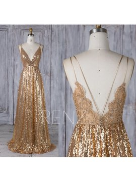 Bridesmaid Dress Gold Sequin Dress,Wedding Dress,Spaghetti Strap Maxi Dress,Lace Illusion Prom Dress,Ruched V Neck A Line Party Dress(Hq580) by Etsy